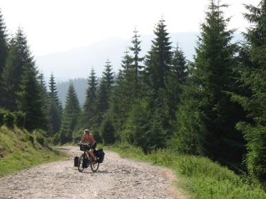 Nach dem freien Camp gehts erstmal wieder bergauf.
