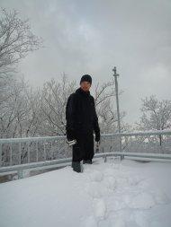 Bei einer kleinen Pause teste ich schonmal die Schneetiefe.